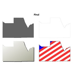 Pinal county arizona outline map set vector
