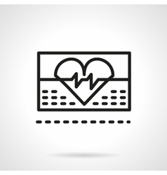 Cardiology icon black line icon vector
