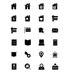 Real estate solid icons 1 vector