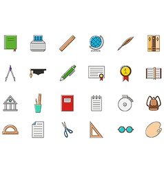Education colorful icons set vector