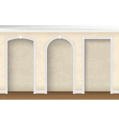 Arches of different shapes in the wall vector