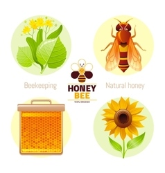 Bee honey icon set with cartoon flat icons - vector