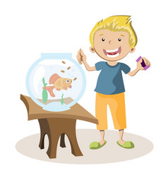 Boy feeding little fish in their fish tank vector