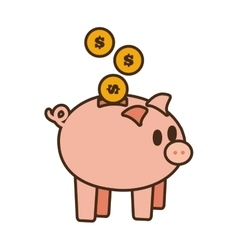 Cartoon save money piggy coins bank vector