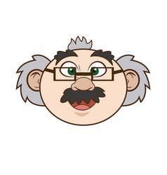 Cartoon scientist professor portrait teacher vector