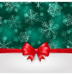 Christmas background with snowflakes and bow vector image vector image