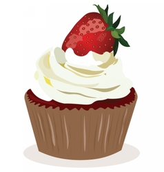 Cupcake with strawberry cream vector image vector image