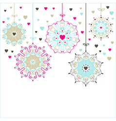 Decorative stars with hearts vector image vector image