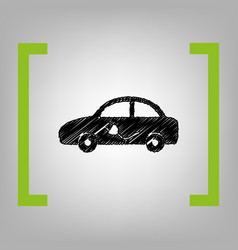 Electric car sign black scribble icon in vector