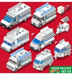 Food truck set04 vehicle isometric vector