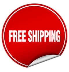 Free shipping round red sticker isolated on white vector