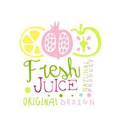fresh juice natural product original design logo vector image
