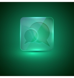 glass icon with speech bubbles vector image vector image