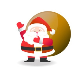 Happy santa claus with brown bag for christmas cel vector