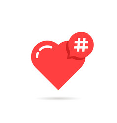 hashtag logo like red heart vector image