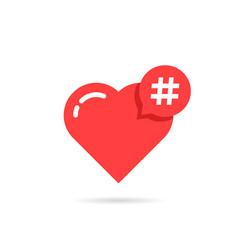 Hashtag logo like red heart vector