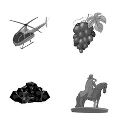 Helicopter grapes and other monochrome icon in vector