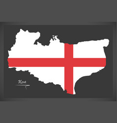 Kent map england uk with english national flag vector