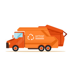 orange garbage collector truck waste recycling vector image vector image