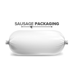 packaging for sausage white plastic vector image vector image