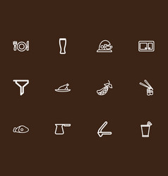 Set of 12 editable food outline icons includes vector