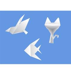 Set origami dove cat fish vector
