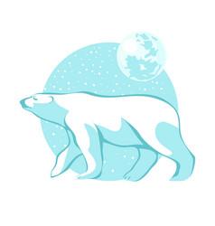silhouette of a polar bear against the blue sky vector image