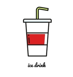 soda line icon fast food vector image