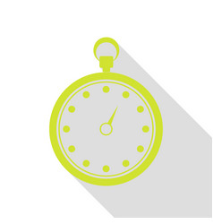 Stopwatch sign pear icon with flat vector