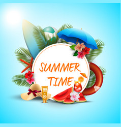 Summer time banner design with white round vector