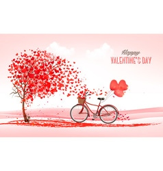 Valentine holiday background with heart shaped vector