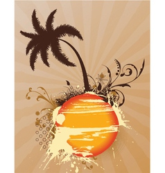 vintage summer background with palm tree vector image