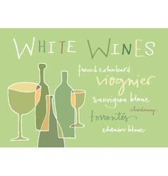 White wines varieties vector