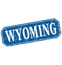 Wyoming blue square grunge retro style sign vector