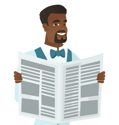 young african-american groom reading newspaper vector image vector image