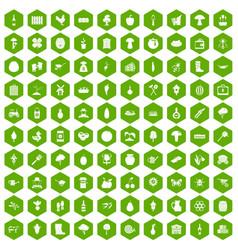 100 farming icons hexagon green vector