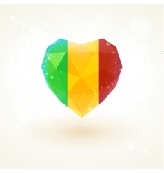 Flag of mali in shape diamond glass heart vector