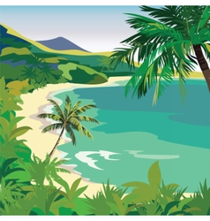 Summer beach with tropical palm trees vector