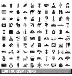 100 tourism icons set simple style vector