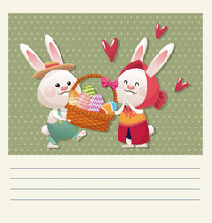 cartoon happy easter couple bunny basket egg vector image
