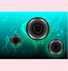Abstract musical with speakers blue background vector