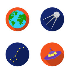 Planet earth with continents and oceans flying vector