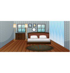 bedroom scene with wooden bed vector image