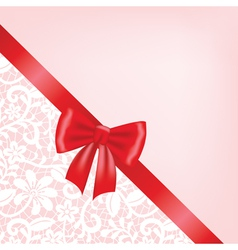 White guipure border with ribbon bow vector