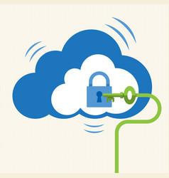 Big data cloud computing security concept vector