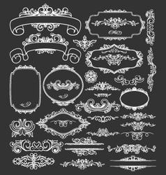 Vintage floral decorative border frames elements vector