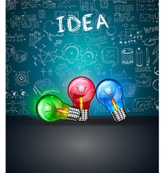 Conceptual light bulb idea backgroud with space vector
