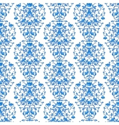 Blue floral elegant border in damask retro style vector