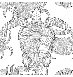 Oceanic animals zentangle seamless pattern vector