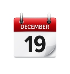 December 19  flat daily calendar icon vector